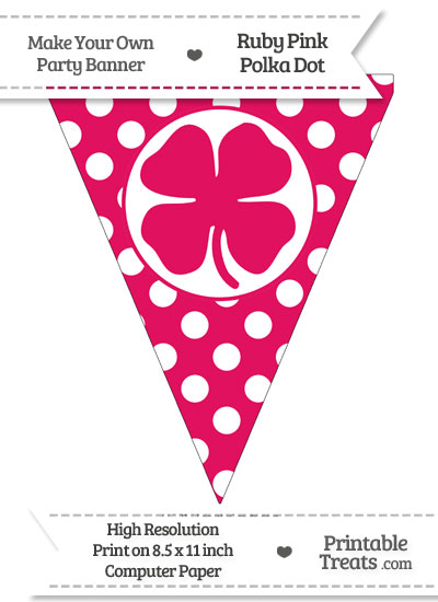 Ruby Pink Polka Dot Pennant Flag with Four Leaf Clover Facing Left from PrintableTreats.com