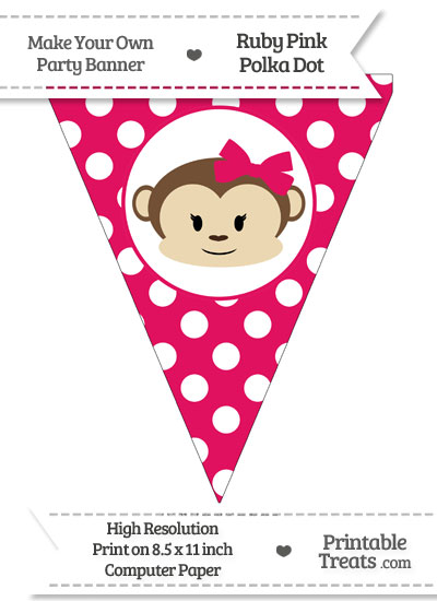 Ruby Pink Polka Dot Pennant Flag with Girl Monkey from PrintableTreats.com