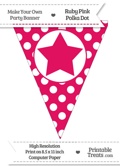 Ruby Pink Polka Dot Pennant Flag with Star from PrintableTreats.com
