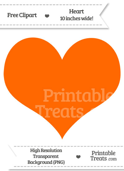 Safety Orange Heart Clipart from PrintableTreats.com