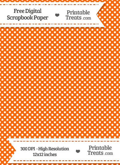 Safety Orange Raised Mini Polka Dots Digital Paper from PrintableTreats.com