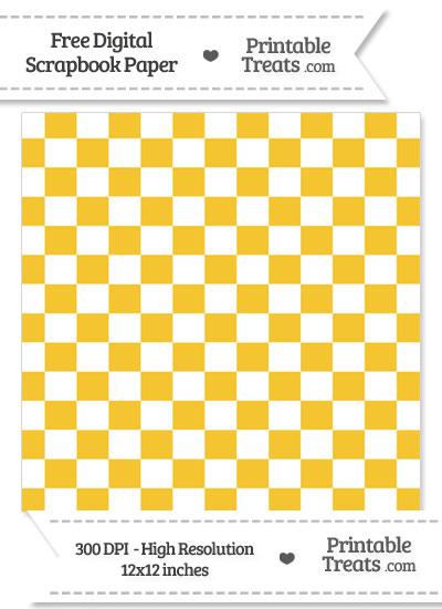 Saffron Yellow Checkered Pattern Digital Paper from PrintableTreats.com
