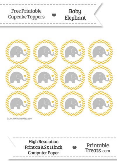 Saffron Yellow Chevron Baby Elephant Cupcake Toppers from PrintableTreats.com