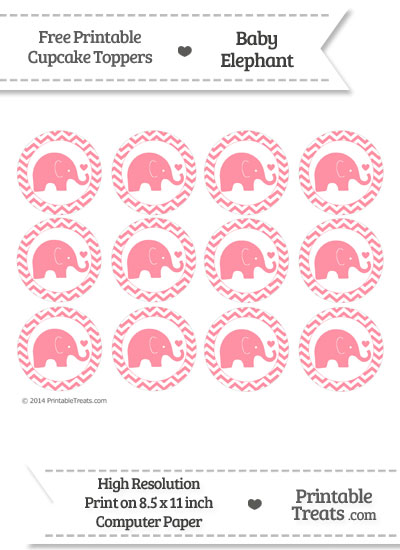 Salmon Pink Baby Elephant Chevron Cupcake Toppers from PrintableTreats.com