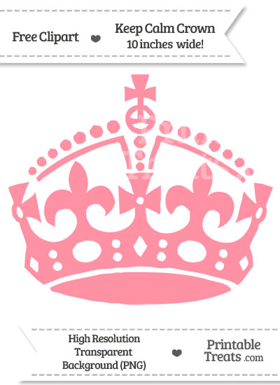 Salmon Pink Keep Calm Crown Clipart from PrintableTreats.com