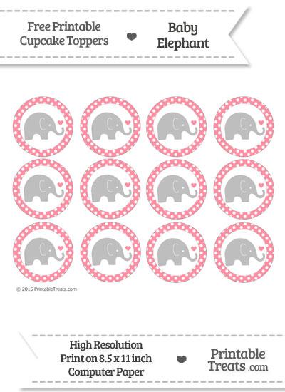 Salmon Pink Polka Dot Baby Elephant Cupcake Toppers from PrintableTreats.com