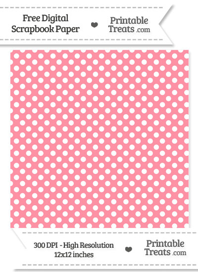 Salmon Pink Polka Dot Digital Paper from PrintableTreats.com
