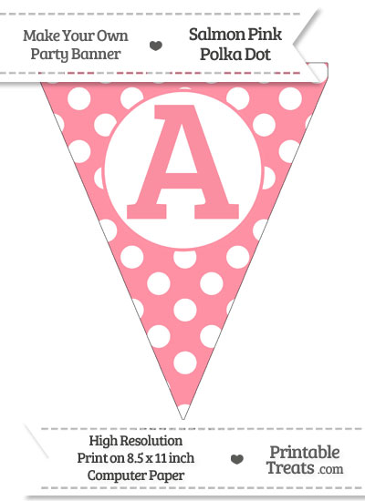 Salmon Pink Polka Dot Pennant Flag Capital Letter A from PrintableTreats.com