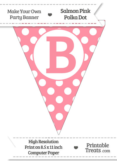 Salmon Pink Polka Dot Pennant Flag Capital Letter B from PrintableTreats.com
