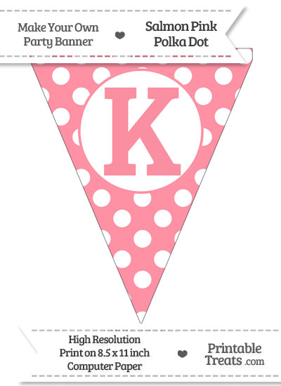 Salmon Pink Polka Dot Pennant Flag Capital Letter K from PrintableTreats.com