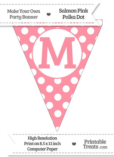 Salmon Pink Polka Dot Pennant Flag Capital Letter M from PrintableTreats.com