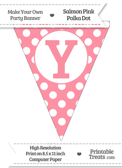 Salmon Pink Polka Dot Pennant Flag Capital Letter Y from PrintableTreats.com