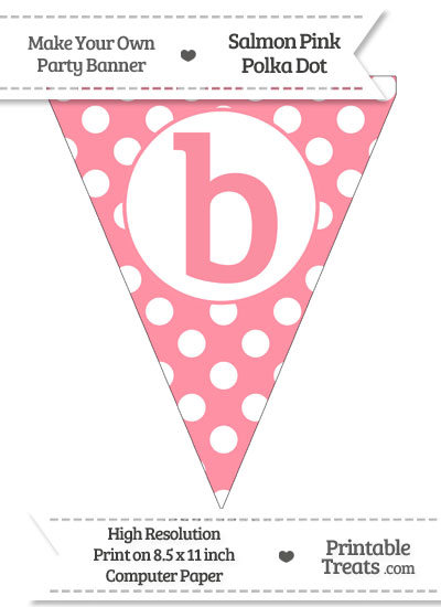 Salmon Pink Polka Dot Pennant Flag Lowercase Letter B from PrintableTreats.com