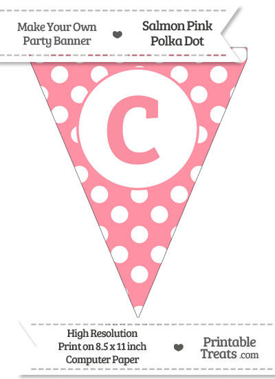 Salmon Pink Polka Dot Pennant Flag Lowercase Letter C from PrintableTreats.com