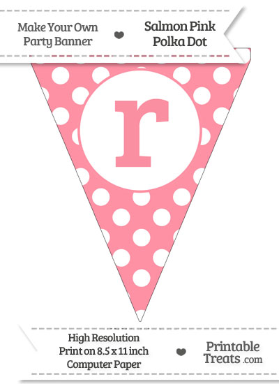 Salmon Pink Polka Dot Pennant Flag Lowercase Letter R from PrintableTreats.com