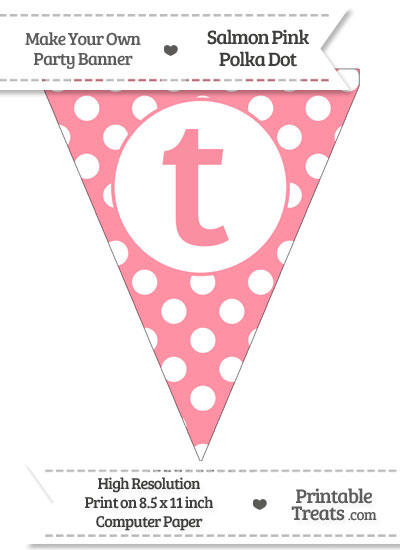 Salmon Pink Polka Dot Pennant Flag Lowercase Letter T from PrintableTreats.com