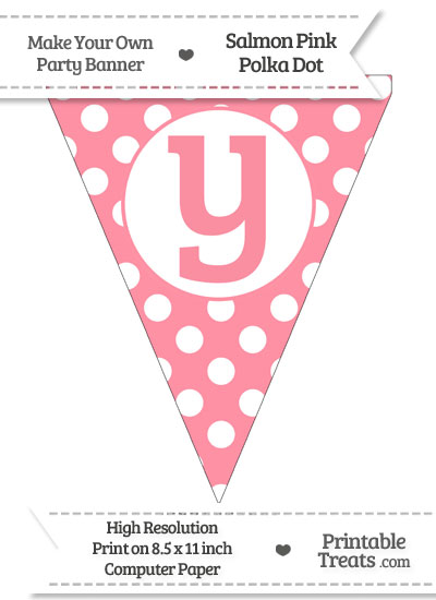 Salmon Pink Polka Dot Pennant Flag Lowercase Letter Y from PrintableTreats.com