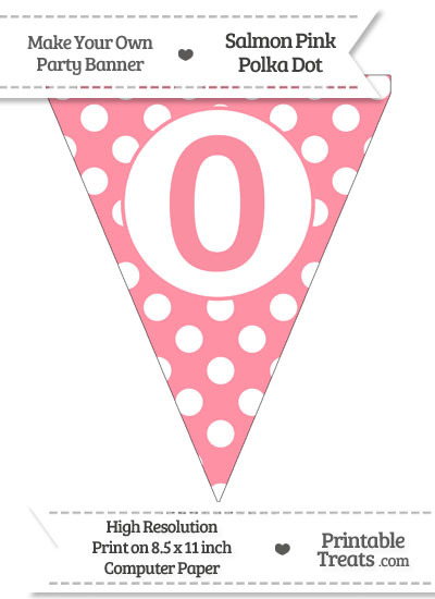 Salmon Pink Polka Dot Pennant Flag Number 0 from PrintableTreats.com