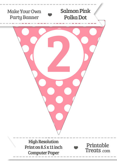Salmon Pink Polka Dot Pennant Flag Number 2 from PrintableTreats.com