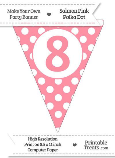 Salmon Pink Polka Dot Pennant Flag Number 8 from PrintableTreats.com
