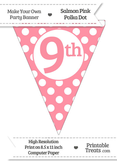 Salmon Pink Polka Dot Pennant Flag Ordinal Number 9th from PrintableTreats.com