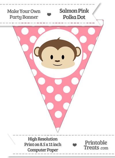 Salmon Pink Polka Dot Pennant Flag with Boy Monkey from PrintableTreats.com