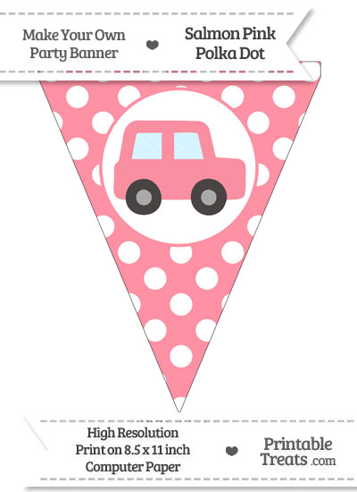 Salmon Pink Polka Dot Pennant Flag with Car Facing Right from PrintableTreats.com