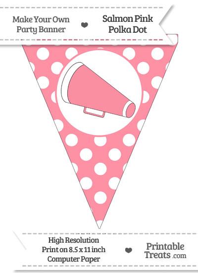 Salmon Pink Polka Dot Pennant Flag with Cheer Megaphone Facing Left from PrintableTreats.com