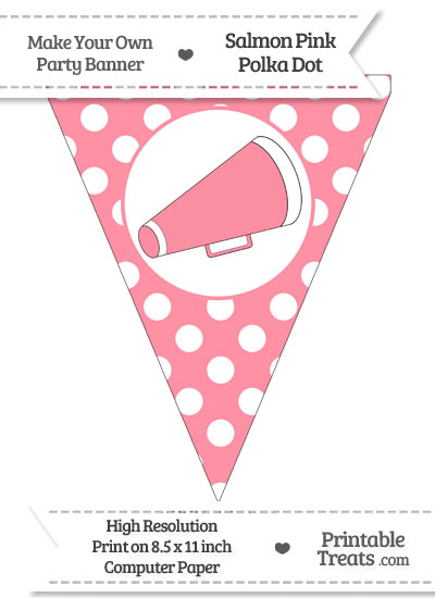 Salmon Pink Polka Dot Pennant Flag with Cheer Megaphone Facing Right from PrintableTreats.com