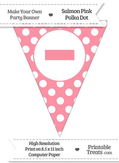 Salmon Pink Polka Dot Pennant Flag with Dash from PrintableTreats.com