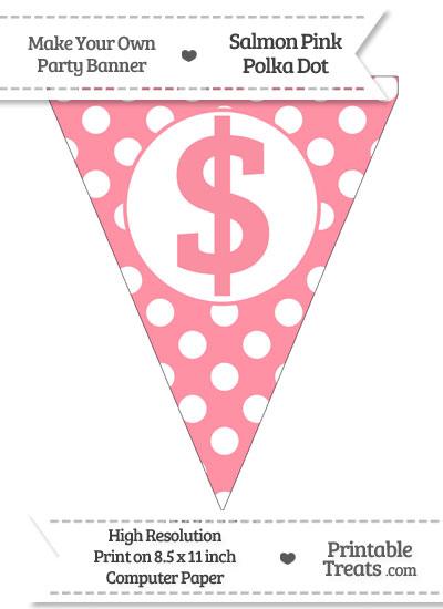 Salmon Pink Polka Dot Pennant Flag with Dollar Sign from PrintableTreats.com
