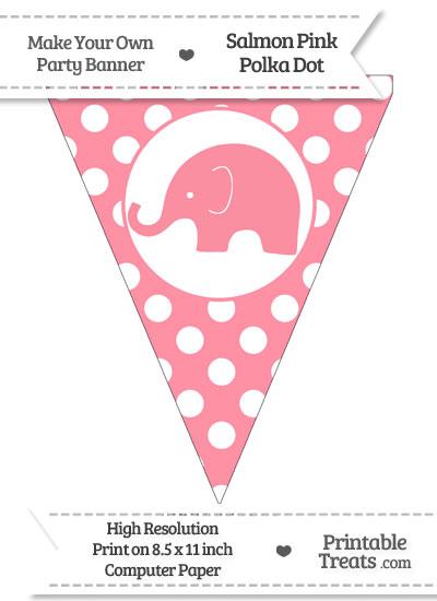 Salmon Pink Polka Dot Pennant Flag with Elephant Facing Left from PrintableTreats.com