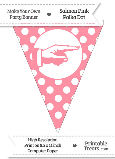 Salmon Pink Polka Dot Pennant Flag with Hand Pointing Right from PrintableTreats.com