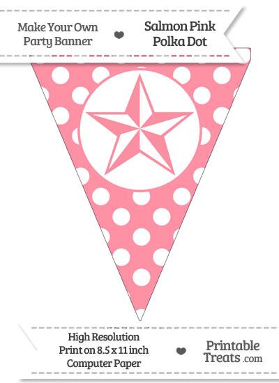Salmon Pink Polka Dot Pennant Flag with Nautical Star from PrintableTreats.com