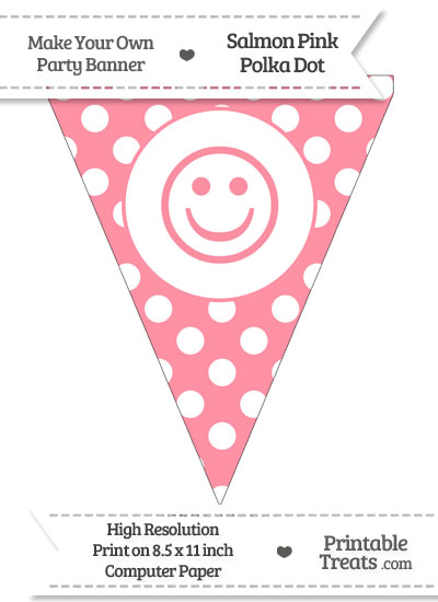Salmon Pink Polka Dot Pennant Flag with Smiley Face from PrintableTreats.com
