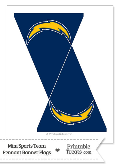 San Diego Chargers Mini Pennant Banner Flags from PrintableTreats.com