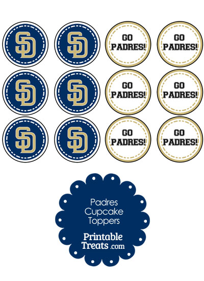 San Diego Padres Cupcake Toppers from PrintableTreats.com