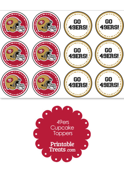 San Francisco 49ers Cupcake Toppers from PrintableTreats.com