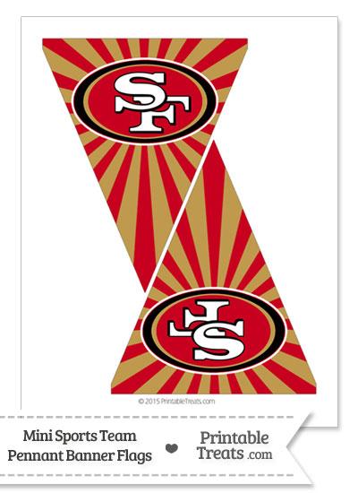 San Francisco 49ers Mini Pennant Banner Flags from PrintableTreats.com