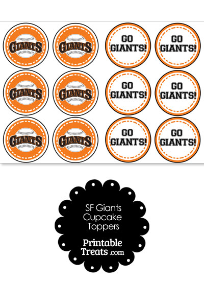 San Francisco Giants Cupcake Toppers from PrintableTreats.com