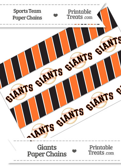 San Francisco Giants Paper Chains from PrintableTreats.com