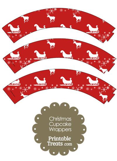 Santas Sleigh Cupcake Wrappers from PrintableTreats.com