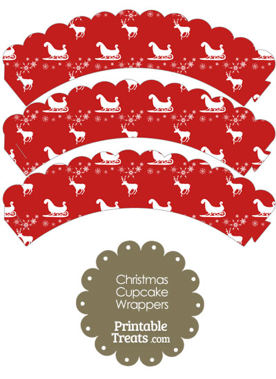 Santas Sleigh Scalloped Cupcake Wrappers from PrintableTreats.com