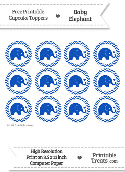 Sapphire Blue Baby Elephant Chevron Cupcake Toppers from PrintableTreats.com