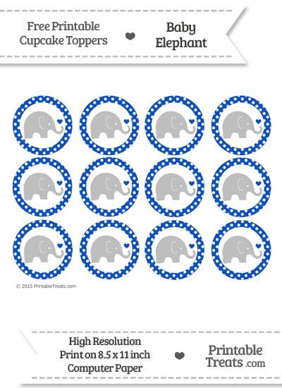 Sapphire Blue Polka Dot Baby Elephant Cupcake Toppers from PrintableTreats.com