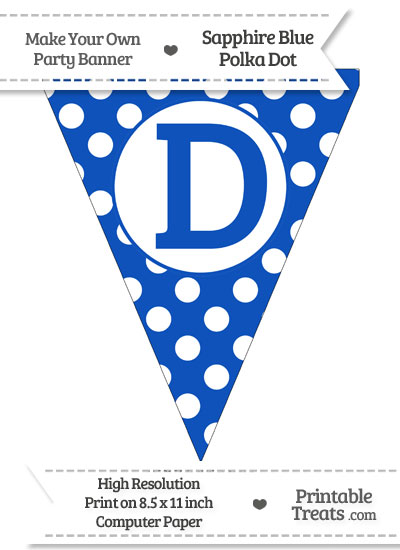 Sapphire Blue Polka Dot Pennant Flag Capital Letter D from PrintableTreats.com