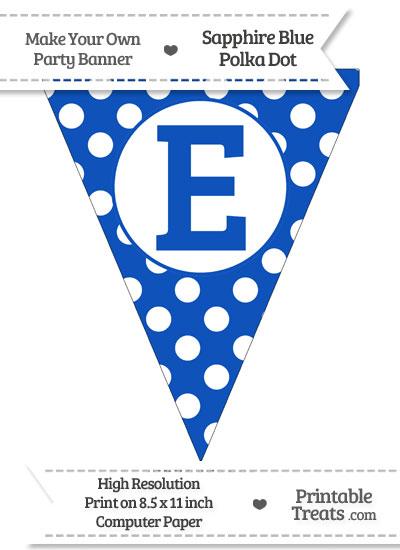 Sapphire Blue Polka Dot Pennant Flag Capital Letter E from PrintableTreats.com