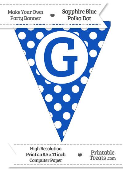 Sapphire Blue Polka Dot Pennant Flag Capital Letter G from PrintableTreats.com