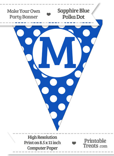 Sapphire Blue Polka Dot Pennant Flag Capital Letter M from PrintableTreats.com