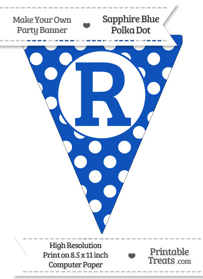 Sapphire Blue Polka Dot Pennant Flag Capital Letter R from PrintableTreats.com